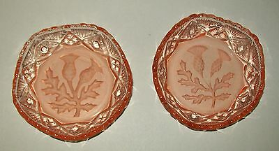 2 x VINTAGE, SMALL PINK GLASS 5-SIDED DISHES - frosted etched floral design
