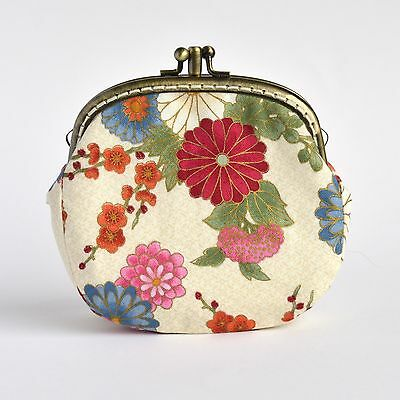 Handcrafted collectable Japanese cotton coin purse with two compartments