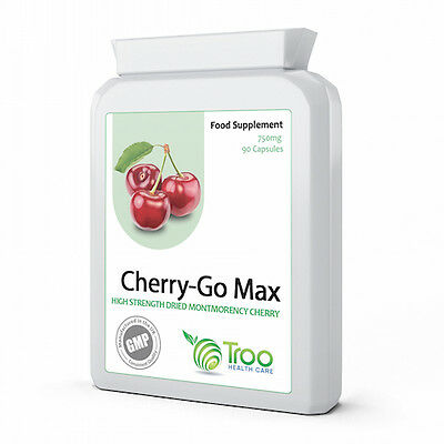 Cherry Go Montmorency Cherry 750mg 90 Capsules - UK Made GMP Guaranteed Quality