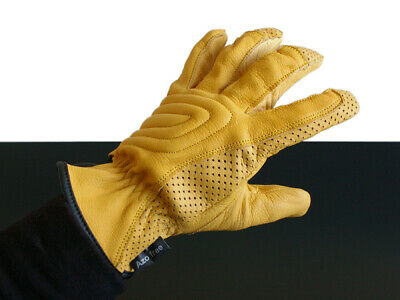 CAFE-RACER Sommer-HANDSCHUHE/Summer gloves/Gants, LEDER/leather, gelb