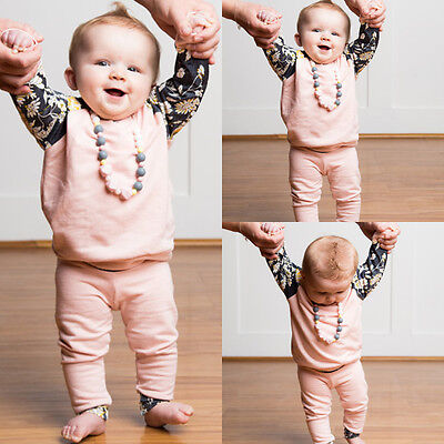 2Pcs Newborn Infant Baby Girls Cute Clothes T-shirt Tops +Pants Outfits Clothes