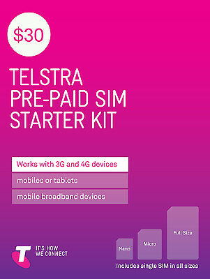 Australia Telstra Mobile $30 Prepaid SIM with 1.3G data and call credit (3G/4G)