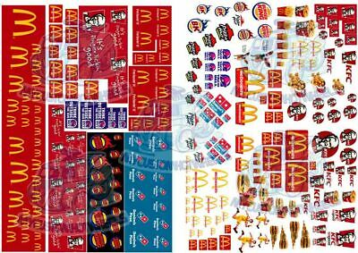 McDonald's, KFC, Pizza & Fast Food Pack | Waterslide Decals for 1:64 model cars