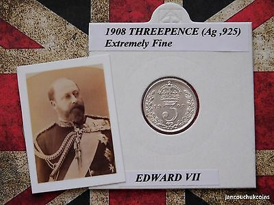 EXTREMELY FINE? 1908 Threepence Coin (Silver .925) Edward VII