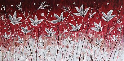 ORIGINAL ACRYLIC MODERN FLOWERS ABSTRACT KNIFE PAINTING on box canvas 100x50cm