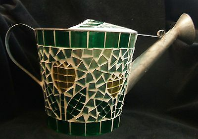 Decorated Glass Mosaic on Vintage Metal Watering Can