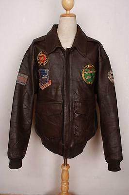 Vtg AVIREX A-2 'Mother Poem' USAAF Patched Flight Leather Jacket XL