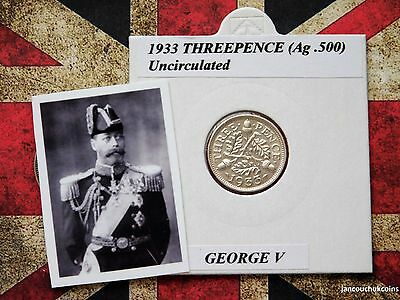 UNCIRCULATED? 1933 Threepence Coin (Silver .500) George V