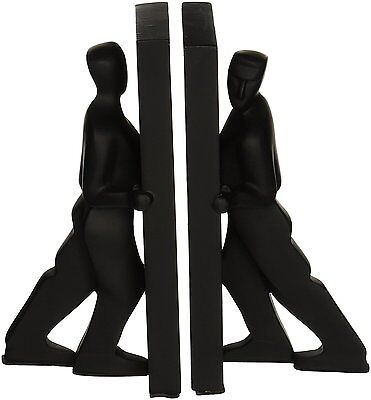 Kikkerland Stone Resin Pushing Men Bookends Pair, Black