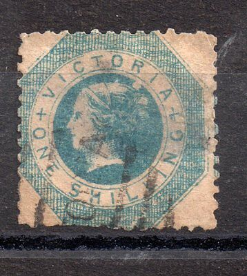 Victoria State 1854 QV 1/- blue perf 12 used WS2543