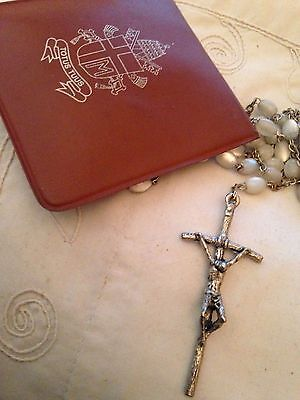 Rosary Beads  white and silver plated vintage, unusual with brown leather pouch