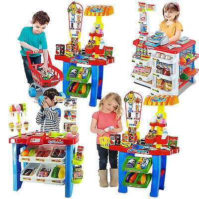 Childrens Kids Supermarket Shop Grocery Pretend Toy Kitchen Playset Light Sound