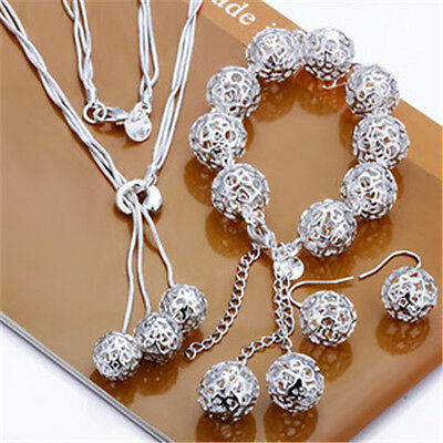 Valentine Gift jewelry silver Hallow Ball necklace&Earrings&Bracelet Set+S925BOX