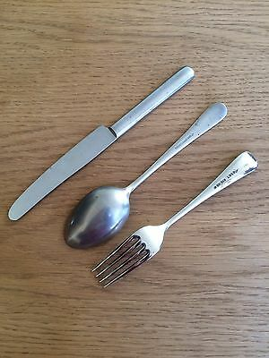 Original Early WW2 Dated British Army Soldiers Fork,Spoon & Knife Cutlery /| WD