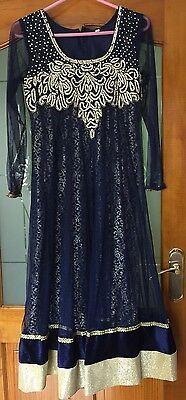 Women's Size 38 Indian Pakistani Dress Choli Shalwar Kameez Navy
