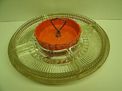 """Vtg Lazy Susan Orange and Gold , Pottery & glass with metal tray 13.5"""" diameter"""