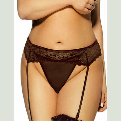 Plus Size Suspender Garter Belt Black Lace Women's Lingerie with G-string