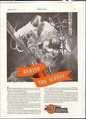 1937 Print Advertisement Railroad AD Gulf Industrial Lubrication Behind Scenes