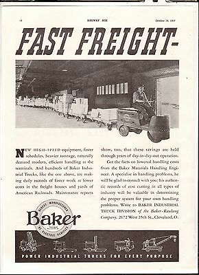 1937 Print Advertisement Railroad AD Baker Electric Vehicle Industrial Trucks