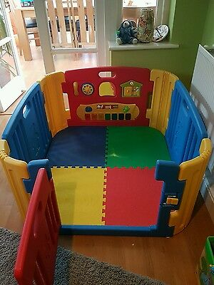 Coloured 4 Sided Playpen with Mats and Musical Activity Wall