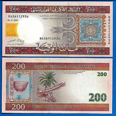 Mauritania P-11 200 Ouguiya Year 28.11.2004 Unc. Banknote Africa