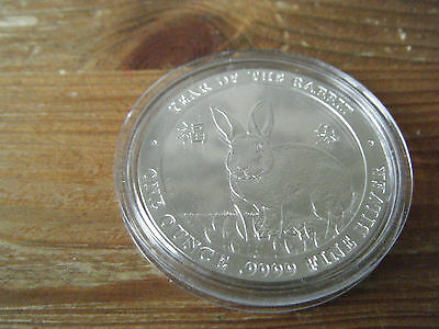 BAIRD & CO YEAR OF THE RABBIT    1oz  .999  FINE SILVER COIN    VGC  IN CAPSULE