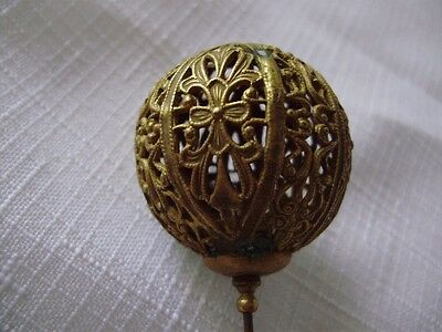 Original Victorian/Edwardian Gilt Brass Filigree Stickpin Antique c.1900
