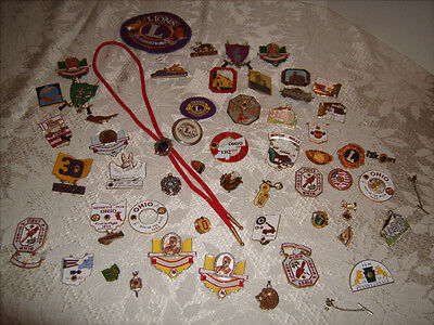 Lot of Assorted Vintage LIONS CLUB Pins Badges Patches 50 Piece Lot