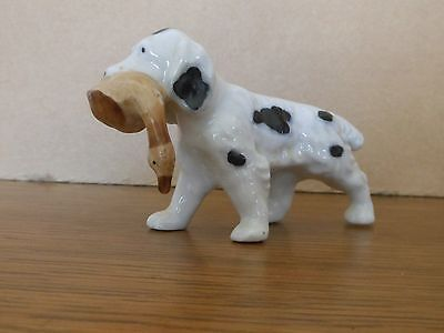 JAPAN DOG Spaniel Dog with Duck Porcelain Figurine  3 1/2 x 2 1/2 inches