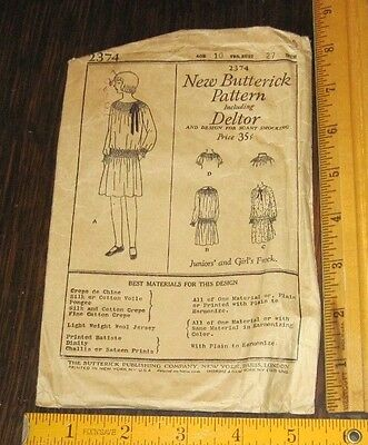1920s Butterick Pattern 2374 Junior Girls Frock Sz 10 B27 VG Cond Scant Smocking