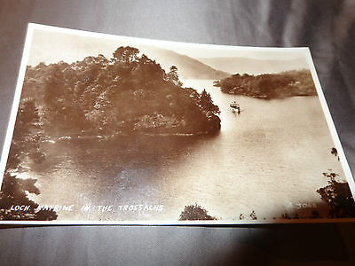 Loch Katrine & in the Trossachs RP Postcard  sepia steamship  valentines 1-e