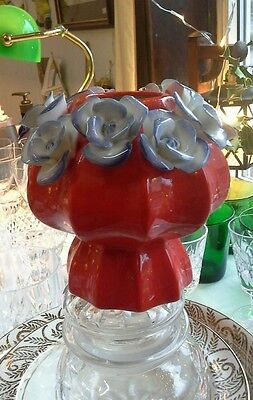 Anthropologie Vase Pot - red with lilac blue flowers - stunning