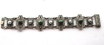 Antique Austro-Hungarian Sterling Silver Bracelet Turquoise & Mother of Pearl