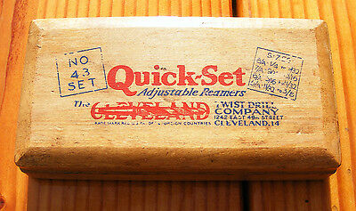 Machinist Lathe Mill Cleveland Quick Set Adjustable Reamers In Wood Case No.43