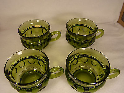 Green Glass Coffee or Tea Cups Indiana King Crown Thumbprint  set of 4 (#19)