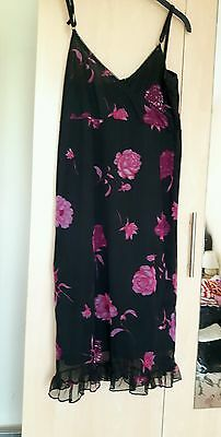 Ladies black floral strappy dress. Size 12. Look Fashion.