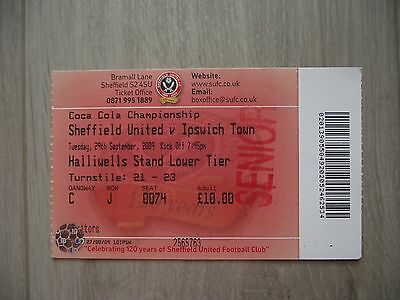 2009 Sheffield United v Ipswich Town  - Championship -  Used ticket stubb