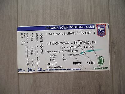 1996 Ipswich Town v Portsmouth  - Division One-  Used ticket stubb