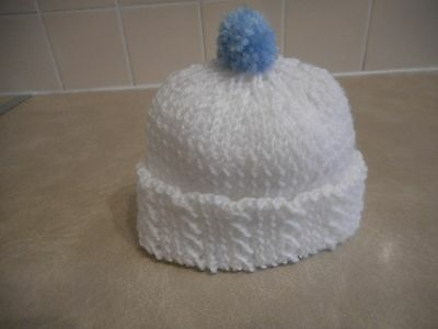 Hand Knitted White Baby Hat With Small Blue Bobble (0 - 3 Months)