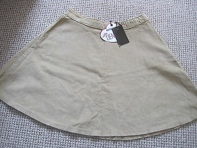 "Camel Cord Skater Skirt Age 14-15 28 Waist Length 16.5"" Zip At Side New With Tag"