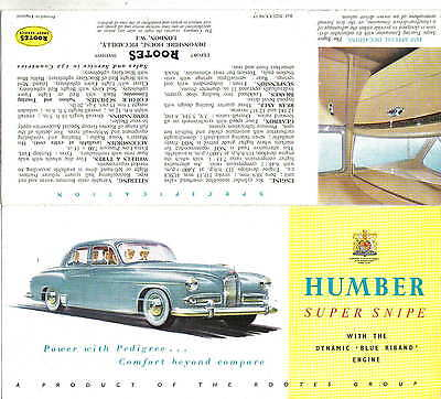 Humber Super Snipe Mk IV Original Export Sales Brochure No. 5023/EX/94/15 1954