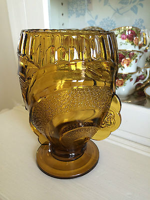 Sowerby Art Deco Amber Glass Celery Vase ~ 2616