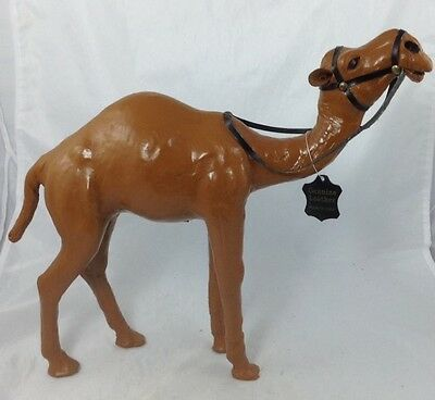 """New Large Leather Wrapped Art Camel Figurine W/ Glass Eyes 15.5""""L x 13""""H"""