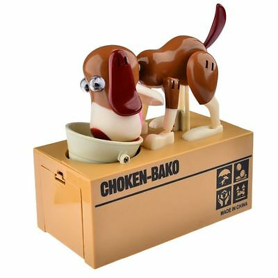 Children's Brown Dog Puppy Robotic Coins Saving Box Money Bank Funny Kids Gifts