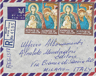 CYPRUS 1971 registered letter st. air mail to ITALY