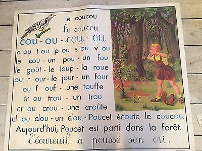"""Double Sided Vintage French School Poster Sound """"ou"""" And """"on"""""""