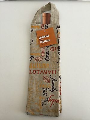 Celebrate Thanksgiving Wine Cover Bag Autumn Harvest Wine Carrier Nwt
