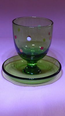 Vintage spotty green glass egg cup