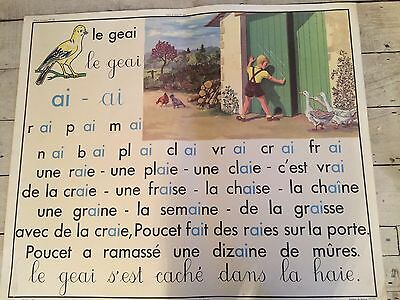 """Double Sided French School Vintage Poster Sound""""oie"""" And """"ai"""""""