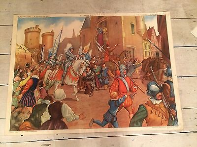 """Double Sided French Vintage School Poster """"""""Henri IV"""", """"canal De Briane"""""""